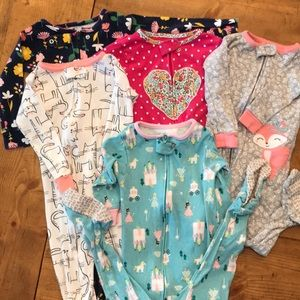 5 carter's footed one piece zip pajamas